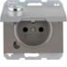 6768117003 Socket outlet with earthing pin and hinged cover with lock - differing lockings,  Berker K.5, aluminium,  matt,  lacquered