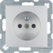 6768761404 Socket outlet with earthing pin with enhanced touch protection,  aluminium,  matt,  lacquered
