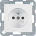 6768761909 Socket outlet with earthing pin with enhanced touch protection,  polar white matt